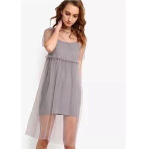 TopShop Mesh/Tulle Dress with Slip- Grey